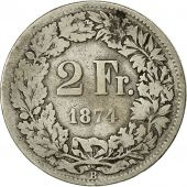Coin, Switzerland, 2 Francs, 1874, Bern, VF(20-25), Silver, KM:21