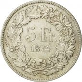 Coin, Switzerland, 5 Francs, 1874, Brussels, AU(50-53), Silver, KM:11