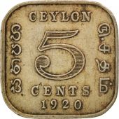 Ceylon, Georges V, 5 Cents 1920, KM 108