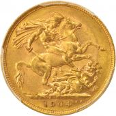Australie, Edward VII, Sovereign, 1904, Melbourne, PCGS, AU58, Or, KM:15