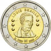 Belgium, 2 Euro, Louis Braille, 2009, MS(63), Bi-Metallic