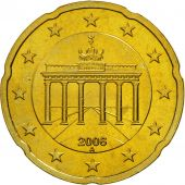 GERMANY - FEDERAL REPUBLIC, 20 Euro Cent, 2006, MS(63), Brass, KM:211