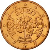 Autriche, 5 Euro Cent, 2002, SPL, Copper Plated Steel, KM:3084