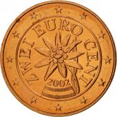Autriche, 2 Euro Cent, 2002, SPL, Copper Plated Steel, KM:3083