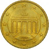 GERMANY - FEDERAL REPUBLIC, 50 Euro Cent, 2002, MS(63), Brass, KM:212