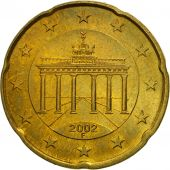 GERMANY - FEDERAL REPUBLIC, 20 Euro Cent, 2002, MS(63), Brass, KM:211
