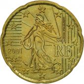 France, 20 Euro Cent, 2001, SPL, Laiton, KM:1286