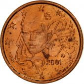 France, Euro Cent, 2001, SPL, Copper Plated Steel, KM:1282