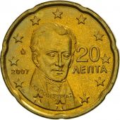 Greece, 20 Euro Cent, 2007, MS(63), Brass, KM:212