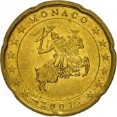 Monaco, 20 Euro Cent, 2001, MS(63), Brass, KM:171