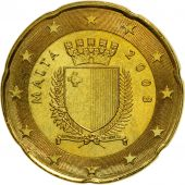 Malta, 20 Euro Cent, 2008, MS(63), Brass, KM:129