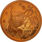 France, Euro Cent, 1999, BE, Copper Plated Steel, KM:1282
