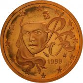 France, 2 Euro Cent, 1999, BE, Copper Plated Steel, KM:1283