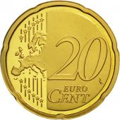 VATICAN CITY, 20 Euro Cent, PROOF 2008, MS(63), Brass, KM:386