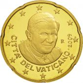 VATICAN CITY, 20 Euro Cent, PROOF 2009, MS(63), Brass, KM:386