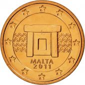 Malte, 2 Euro Cent, 2011, SPL, Copper Plated Steel, KM:126