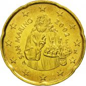 San Marino, 20 Euro Cent, 2002, MS(65-70), Brass, KM:444