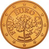 Autriche, 5 Euro Cent, 2002, FDC, Copper Plated Steel, KM:3084