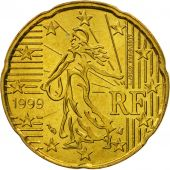 France, 20 Euro Cent, 1999, SPL, Laiton, KM:1286