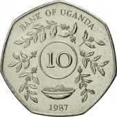 Uganda, 10 Shillings, 1987, FDC, Nickel plated steel, KM:30