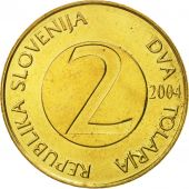 Slovenia, 2 Tolarja, 2004, MS(65-70), Nickel-brass, KM:5