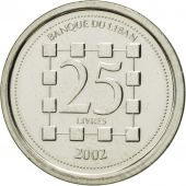 Lebanon, 25 Livres, 2002, FDC, Nickel plated steel, KM:40