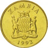 Zambia, 5 Kwacha, 1992, British Royal Mint, MS(65-70), Brass, KM:31