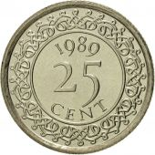 Surinam, 25 Cents, 1989, MS(65-70), Nickel plated steel, KM:14A