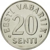 Estonia, 20 Senti, 1999, no mint, FDC, Nickel plated steel, KM:23a