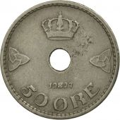 Norvège, Haakon VII, 50 Öre, 1927, SUP, Copper-nickel, KM:386