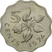 Swaziland, Sobhuza II, 5 Cents, 1974, British Royal Mint, SPL, Copper-nickel