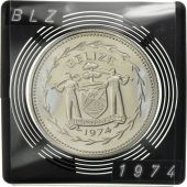 Belize, 5 Dollars, 1974, Franklin Mint, PROOF MS(63), Silver, KM:44a
