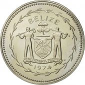 Belize, 25 Cents, 1974, Franklin Mint, PROOF MS(63), Copper-nickel, KM:41