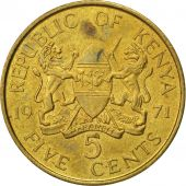 Kenya, 5 Cents, 1971, AU(50-53), Nickel-brass, KM:10