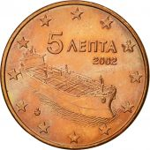 Greece, 5 Euro Cent, 2002, MS(60-62), Copper Plated Steel, KM:183
