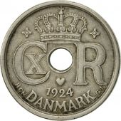 Danemark, Christian X, 25 Öre, 1924, Copenhagen, TTB, Copper-nickel, KM:823.1