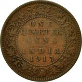 INDIA-BRITISH, George V, 1/4 Anna, 1913, B, Bronze, KM:512