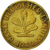 GERMANY - FEDERAL REPUBLIC, 5 Pfennig, 1949, Munich, EF(40-45), Brass Clad