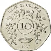 Uganda, 10 Shillings, 1987, MS(63), Nickel plated steel, KM:30