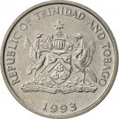 TRINIDAD & TOBAGO, 25 Cents, 1993, Franklin Mint, AU(55-58), Copper-nickel