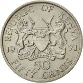 Kenya, 50 Cents, 1971, AU(55-58), Copper-nickel, KM:13