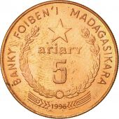Madagascar, 5 Ariary, 1996, SUP, Copper Plated Steel, KM:23