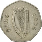 IRELAND REPUBLIC, 50 Pence, 1978, TTB, Copper-nickel, KM:24