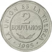 Bolivie, 2 Bolivianos, 1995, SUP, Stainless Steel, KM:206.2
