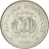Dominican Republic, 25 Centavos, 1990, SUP+, Nickel Clad Steel, KM:71.2