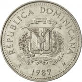 Dominican Republic, 1/2 Peso, 1989, TTB+, Nickel Clad Steel, KM:73.1