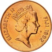 Fiji, Elizabeth II, 2 Cents, 1992, SUP, Copper Plated Zinc, KM:50a