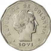 Colombia, 50 Centavos, 1971, AU(50-53), Nickel Clad Steel, KM:244.1