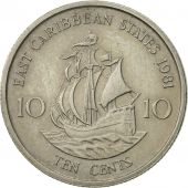 East Caribbean States, Elizabeth II, 10 Cents, 1981, EF(40-45), Copper-nickel