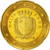 Malta, 20 Euro Cent, 2008, MS(65-70), Brass, KM:129